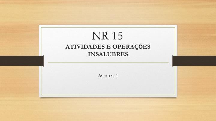 Limites de Tolerância de Exposição ao Ruído – NR15